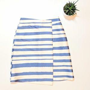 TOPSHOP Blue + Cream Striped Satin Skirt